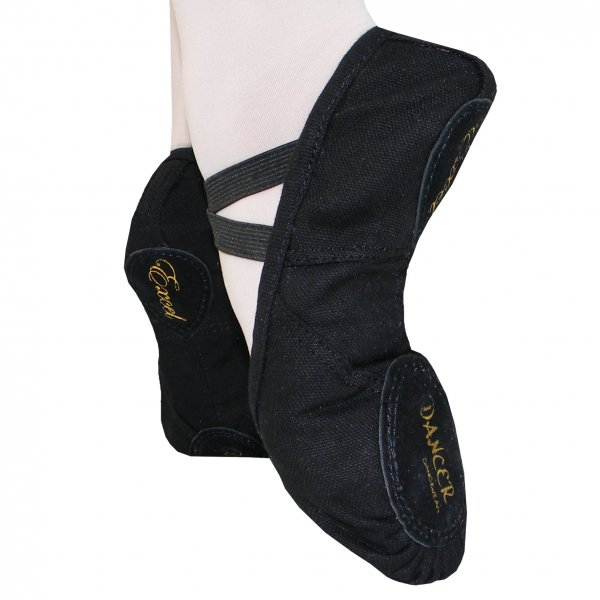 EXCEL Black Narrow/Normal Ballet Shoe Canvas Split Sole larger image