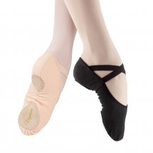 Veganova Stretch Canvas Split-Sole Ballet Shoes in BLACK